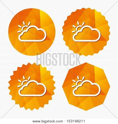 Cloud and sun sign icon. Weather symbol. Triangular low poly buttons with flat icon. Vector