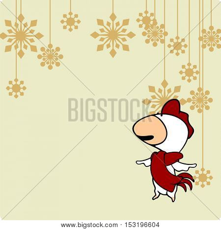Greeting card with a Rooster looking at holiday decoration