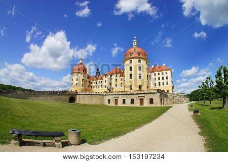 Beautiful view of castle Moritzburg Saxony Germany