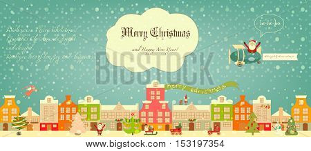 Christmas characters on City Street. Cute Santa Claus Snowman and Decorated Christmas Tree on Greeting Card. Vector Illustration.