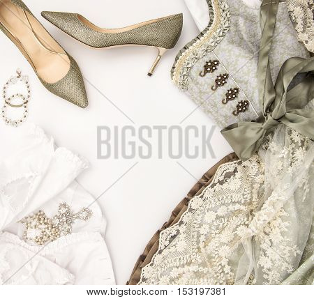Typical oktoberfest dress dirndl. German traditional festive dressing