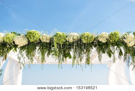 Collect flowers for the wedding arch. On the background of the sky.