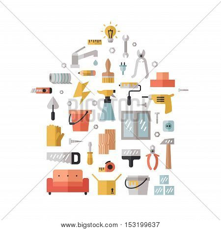 Home repair and construction flat multicolored vector illustration. House shape poster.