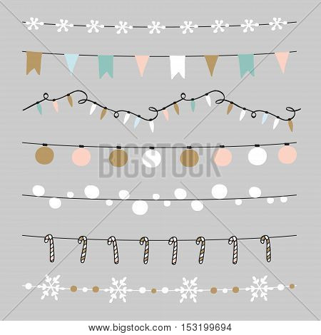 Set of Christmas borders strings garlands brushes. Praty decoration with Christmas balls baubles lights flags candy sticks and snowflakes. Isolated vector objects.
