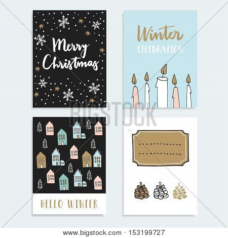 Set of Christmas New Year greeting journaling cards invitations. Hand drawn illustration of candles snowflakes cute winter houses and pine cones. Vector backgrounds.