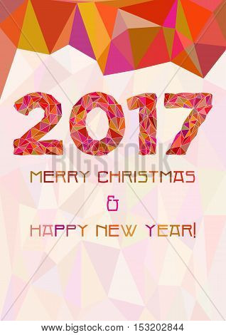 Abstract polygonal background with triangular ornament in red and year 2017 for fliers calendar cover or Christmas and New Year cards. Vector illustration