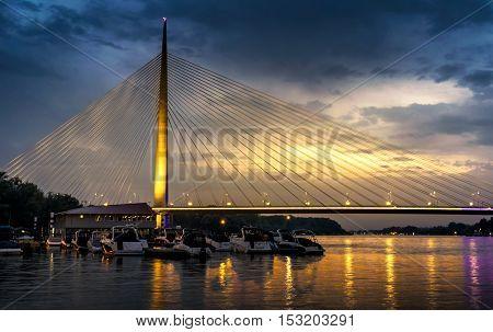 Beautiful Ada bridge in Belgrade, Serbia at Sunset