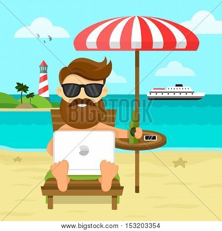 on the beach freelance Work & Rest flat vector illustration. Business Man Freelance Remote Working Place Businessman In Suit