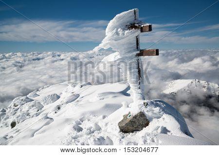 Mount Krivan peak in winter in High Tatras, Vysoke Tatry, Slovakia