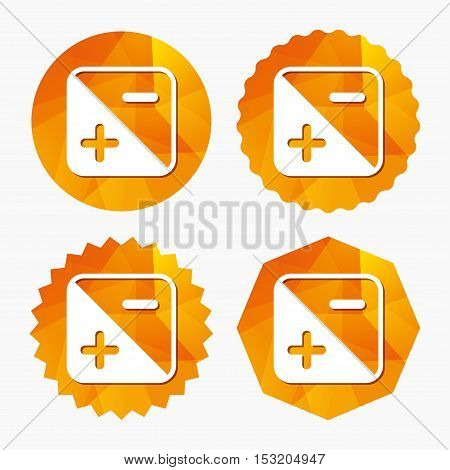 Exposure photo camera sign icon. Quantity of light settings. Triangular low poly buttons with flat icon. Vector