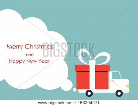 Christmas and New Year greeting card with gift delivery van with copy space. Vector illustration