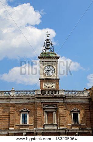 Clock Tower In Piazza Del Popolo In Ravenna In Central Italy