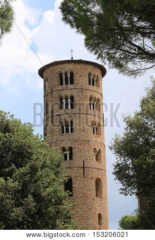 Bell Tower Of Saint Apollinare In Classe Near Ravenna In Italy