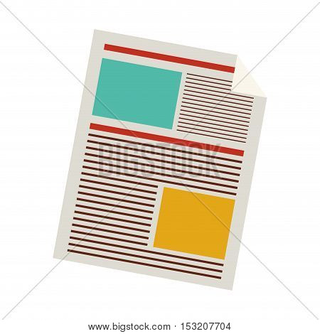 document paper sheet over white background. colorful design. vector illustration