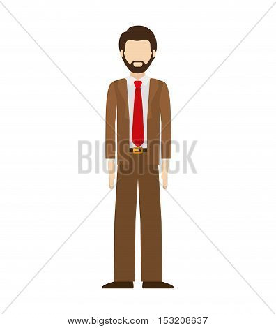 avatar male man standing wearing suit and tie over white background. vector illustration