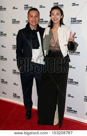 NEW YORK-APR 2: Designer Phillip Lim and model Xiao Wen Ju attend the 2015 Center Dinner at Cipriani Wall Street on April 2, 2015 in New York City.
