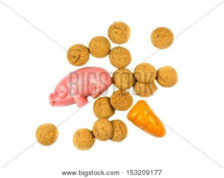 Group Of Pepernoten Cookies With Marzipan