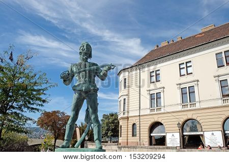 BUDAPEST HUNGARY - SEPTEMBER 29 2016: Monument Honved. The collective image of defender of the homeland of the Middle Ages in Hungary