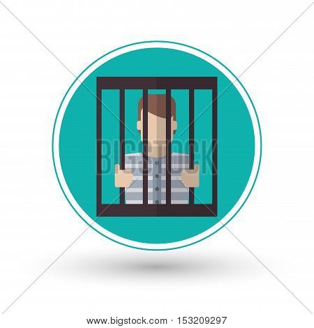 Guilty inside jail icon. Law justice legal and judgment theme. Colorful design. Vector illustration