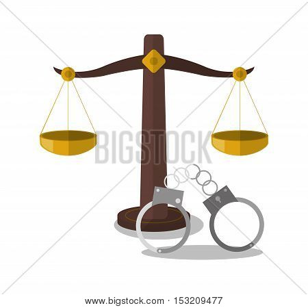 Balance and handcuffs icon. Law justice legal and judgment theme. Colorful design. Vector illustration