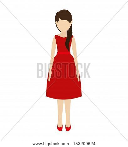 avatar woman cartoon standing and wearing red dress over white background. vector illustration