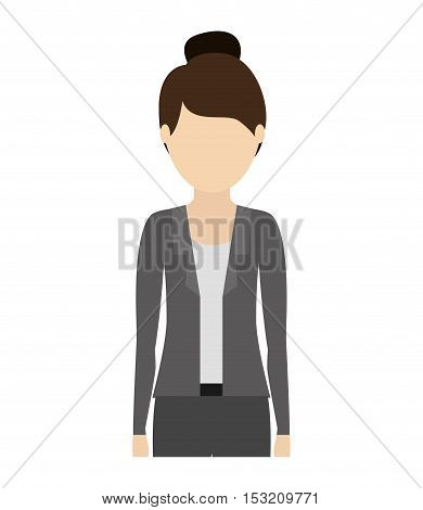 avatar woman cartoon standing and wearing executive clothes over white background. vector illustration