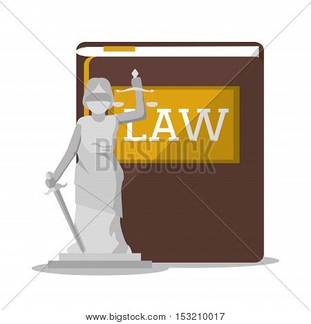 Book and statue icon. Law justice legal and judgment theme. Colorful design. Vector illustration