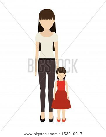 avatar woman mother with her daughter over white background. vector illustration