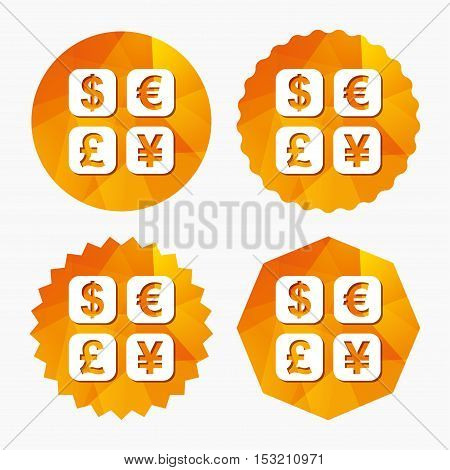 Currency exchange sign icon. Currency converter symbol. Money label. Triangular low poly buttons with flat icon. Vector