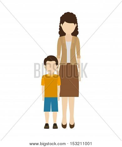avatar woman mother with her son wearing casual clothes over white background. vector illustration