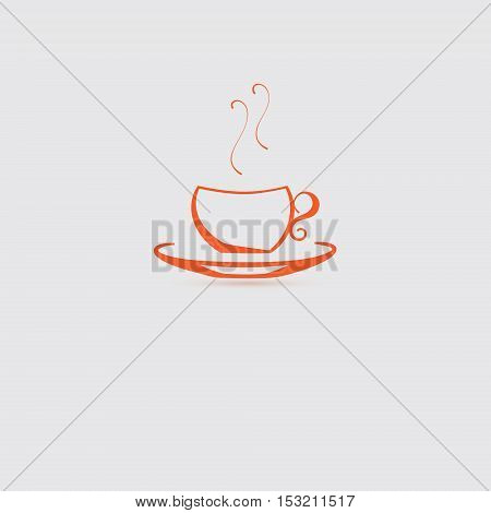 Single Cup Icon with Steam Made as Sihouette. Vector EPS 10