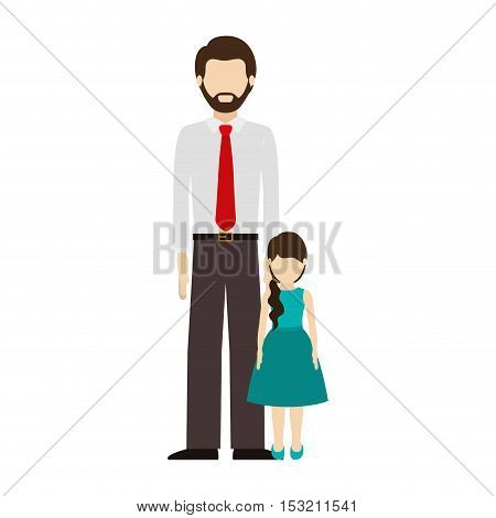 avatar man dad wearing red tie with his daughter over white background. vector illustration