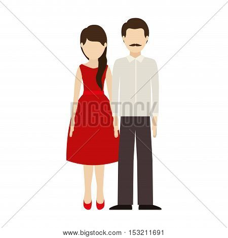couple man and woman wearing casual clothes over white background. vector illustration