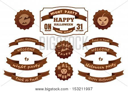Halloween design set. Set of tags and labels with Happy Halloween inscription. Halloween  ribbons, symbols and attributes. Vector illustration