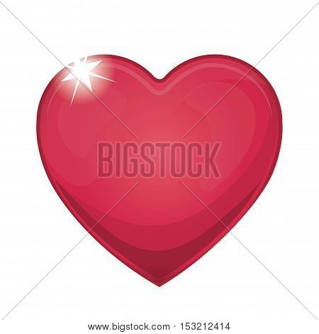 red heart shape icon over white background. vector illustration