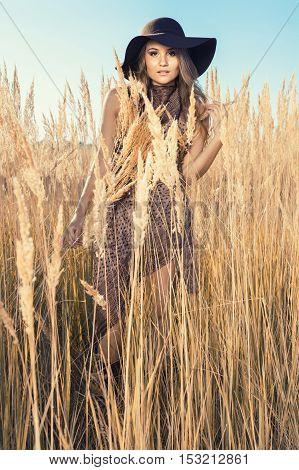 Beautiful Model At A Tallgrass Meadow