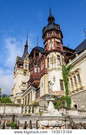 Beautiful Peles castle and ornamental garden in Sinaia, Romania, between Valachia and Transylvania