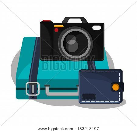 Baggage and camera icon. travel trip vacation and tourism theme. Colorful design. Vector illustration