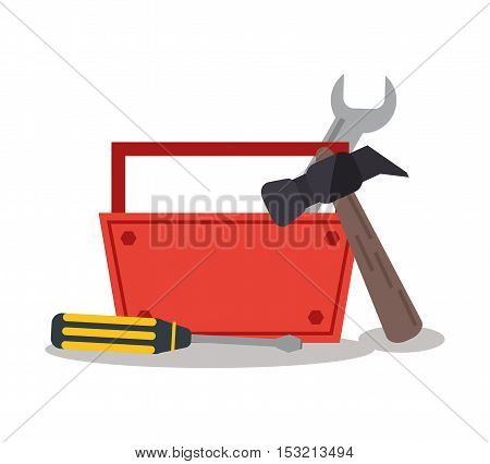 Tools kit icon. Tools instrument repair and construction theme. Colorful design. Vector illustration