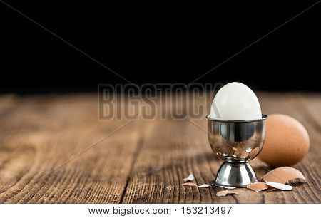 Wooden Table With Boiled Eggs