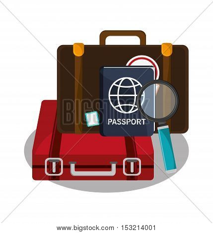 Baggage and passport con. travel trip vacation and tourism theme. Colorful design. Vector illustration