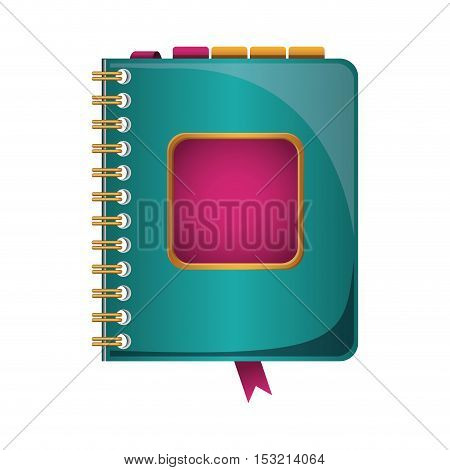 directory notebook with pink label over white background. vector illustration