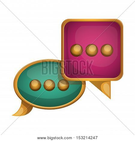 pink and green speech bubble with gold frame over white background. vector illustration