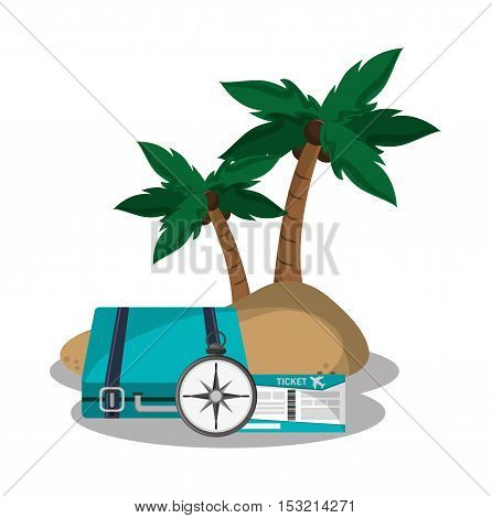 Baggage compass ticket and palm tree icon. travel trip vacation and tourism theme. Colorful design. Vector illustration
