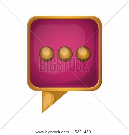 pink speech bubble with gold frame over white background. vector illustration