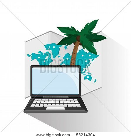 Laptop map and palm tree icon. travel trip vacation and tourism theme. Colorful design. Vector illustration
