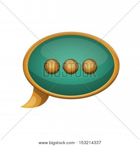 green speech bubble with gold frame over white background. vector illustration