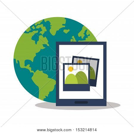 Tablet picture and planet icon. digital marketing media and seo theme. Colorful design. Vector illustration