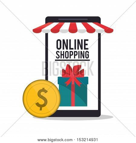 Smartphone coin and gift icon. Shopping online ecommerce media and market theme. Colorful design. Vector illustration