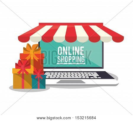 Laptop and gift icon. Shopping online ecommerce media and market theme. Colorful design. Vector illustration